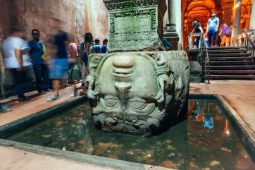 Medusa's head in the Basilica Cistern.