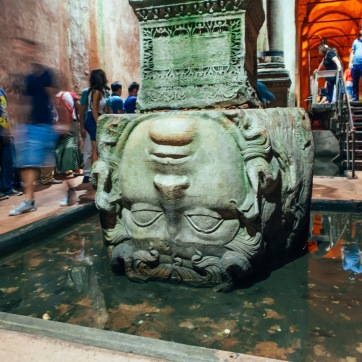 Medusa's head in the Basilica Cistern.